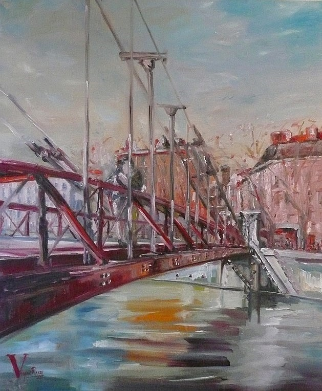 Tableau pont de LYON Virginie Ressy - Painting Bridge French painter artist Lyon France